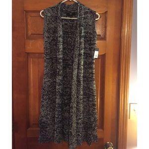 Black & Grey sleeveless, knee length sweater